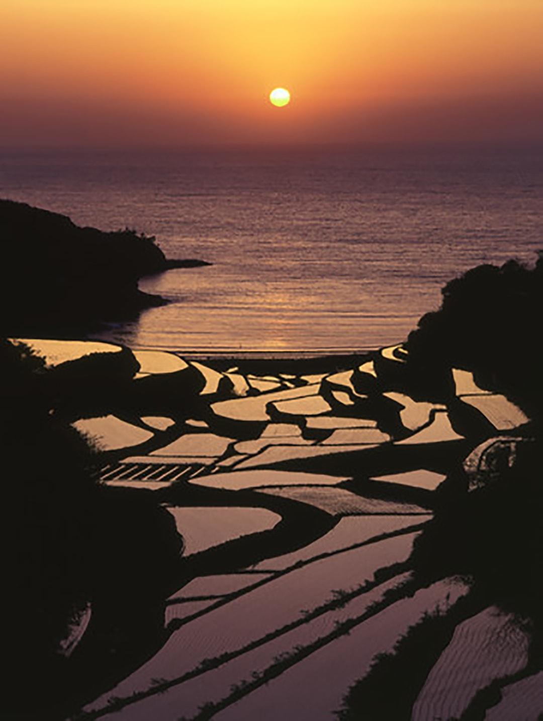 4月下旬~5月中旬の夕日に染まる情景は圧巻 浜野浦(はまのうら)の棚田