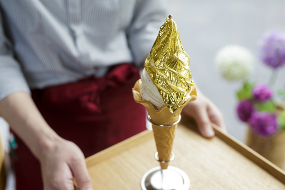 Gold soft serve ice cream – Hakuichi, Higashi Chayagai Shop