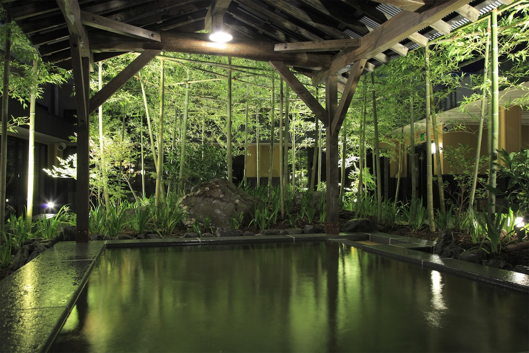 Relaxing, Japanese garden style open-air-bath  Tennen-rotenonsen Spa Suminoe