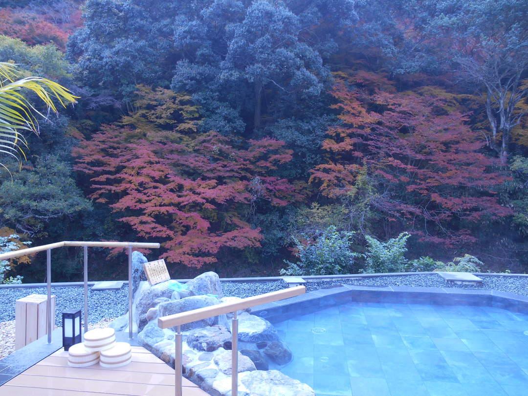 【奥道後 壱湯の守】1500㎡もの敷地の大露天風呂で秋の自然を堪能