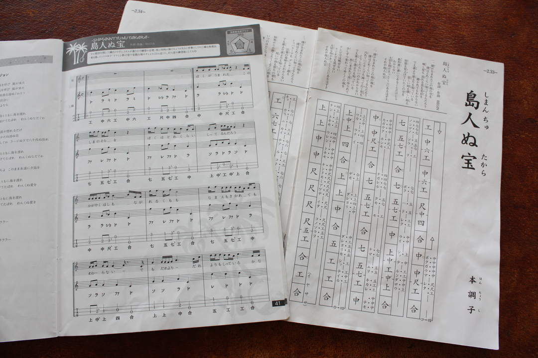 "Using easy-to-understand music score replacing the traditional music score ""kunkunshi"" with contemporary tablature"