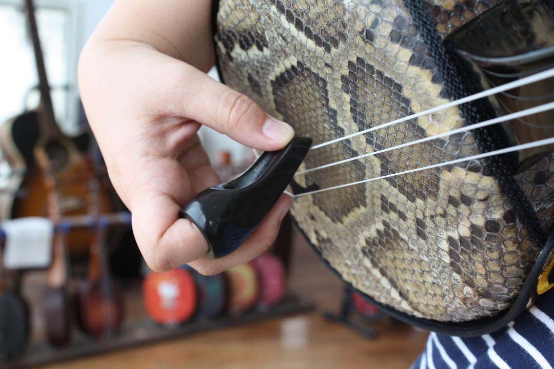 用指甲或专用拨子拨弦