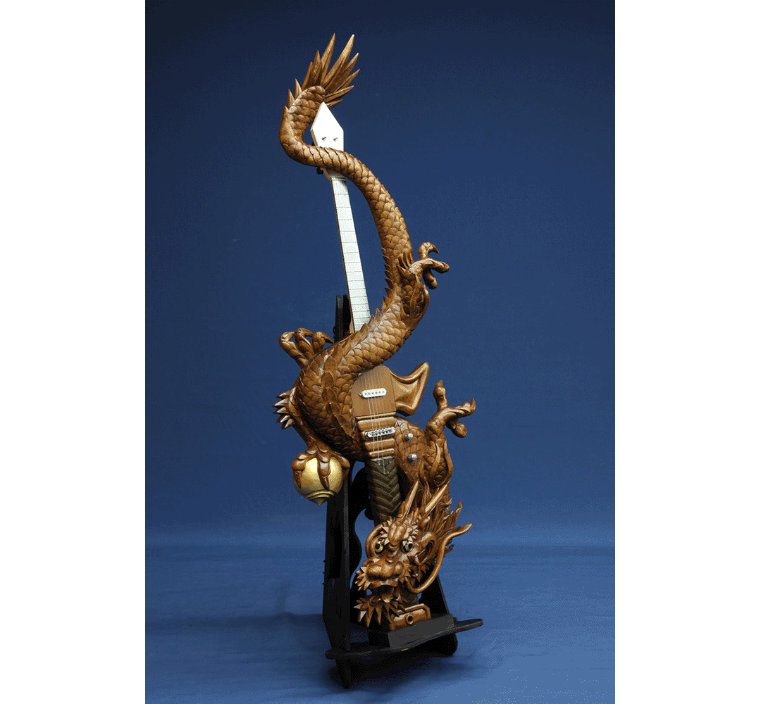 "Artful wood carving guitar with dragons winding around, ""dragon sword"""