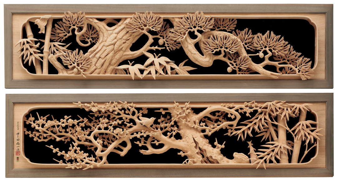 "The Ranma,""Shochikubai "" in which the tradition of Inami wood carving is still alive"