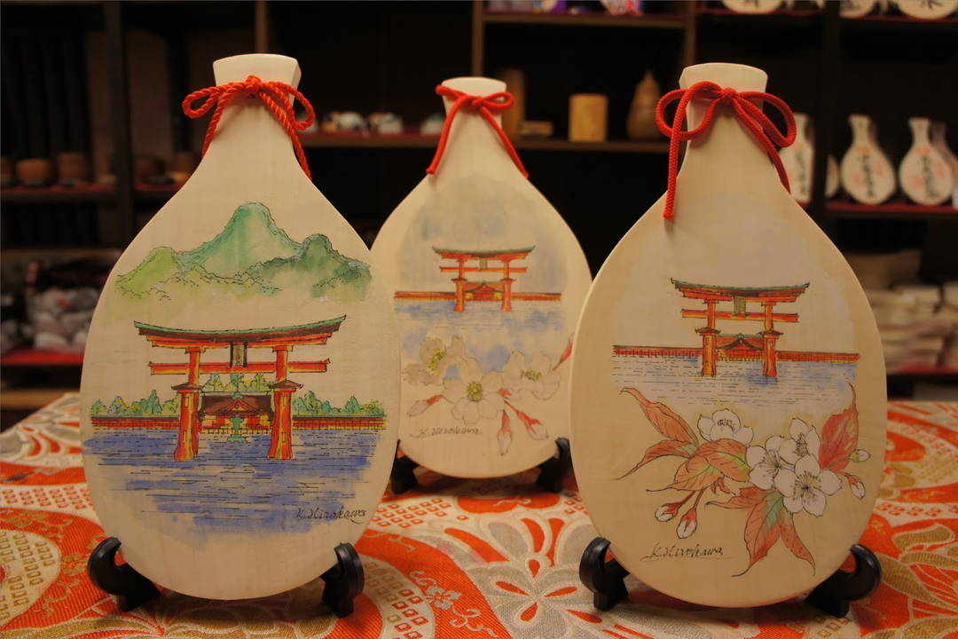"A classic lucky charm of Miyajima's souvenir, ""Shakushi"""