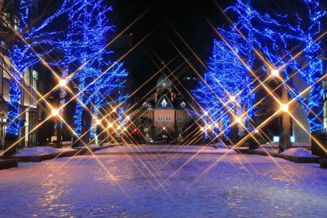 スポット⑤:灯りの中に浮かび上がる姿が幻想的な【北海道庁旧本庁舎】
