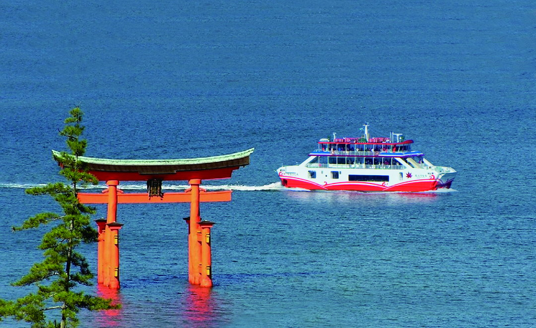 JR West Miyajima Ferry offers a ferry trip while passengers watch the Great Torii on the sea.