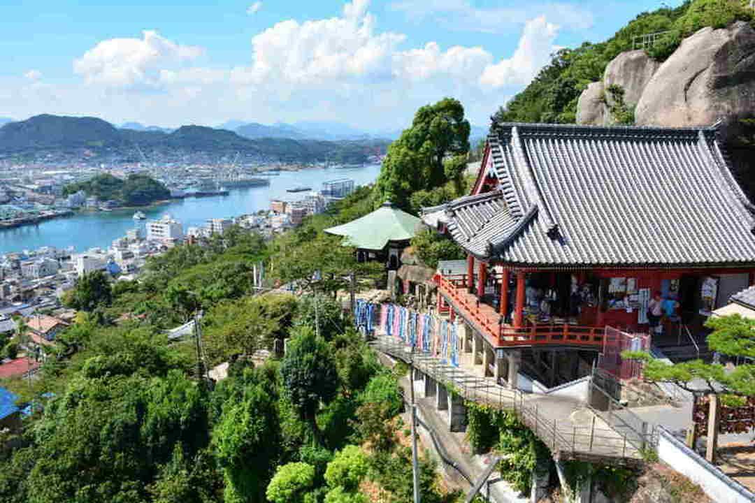 在山頂的千光寺一覽尾道的城市風光