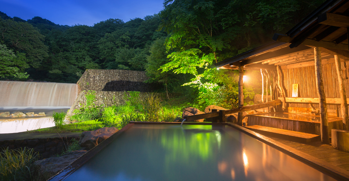 Seven onsen surrounded by virgin beech forest.