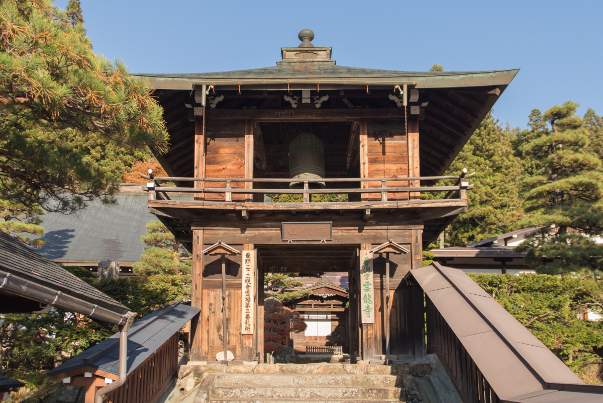 Shoro-mon (gate with bell tower) of Unryu-ji Temple